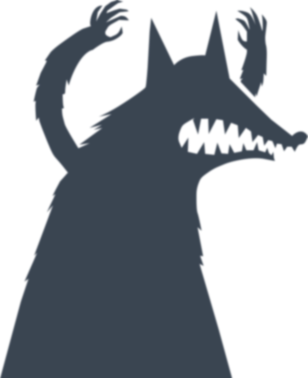 A menacing, wolf-like shadow, looming over the page!